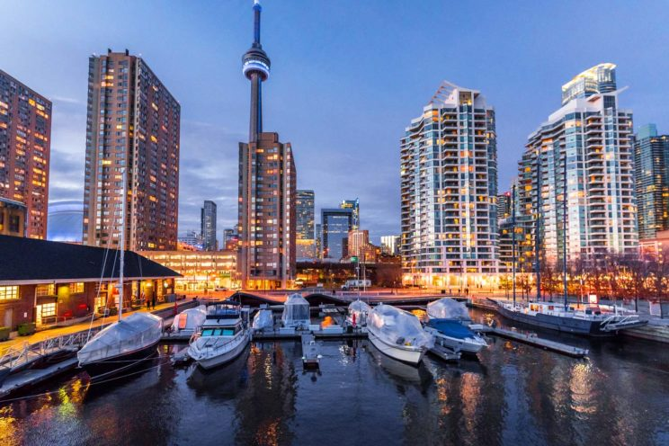 Toronto view at night with boats