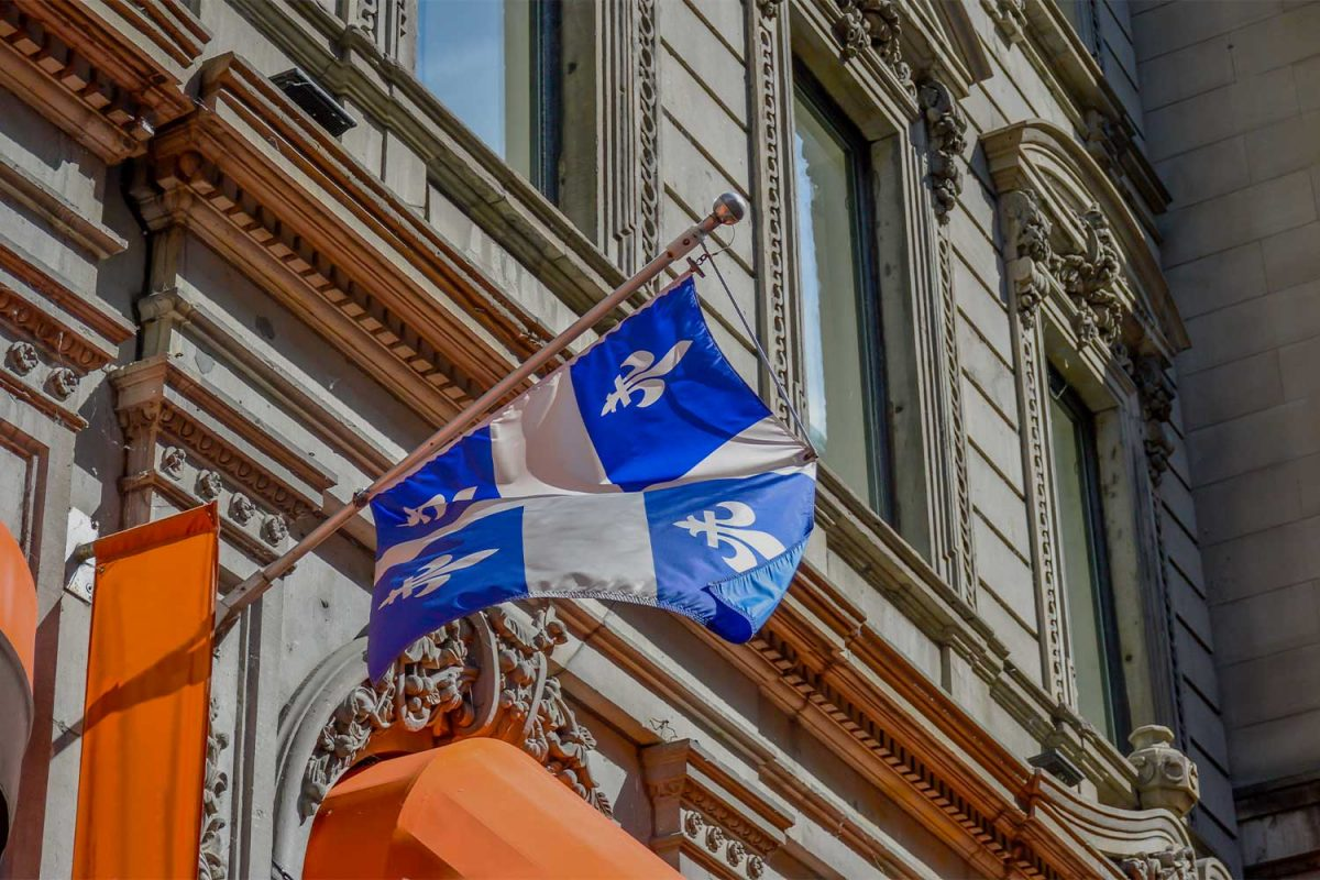 Quebec flag on a building